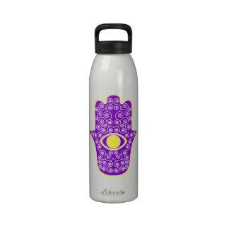 Yellow Purple Hamsa-Hand of Miriam-Hand of Fatima. Drinking Bottles