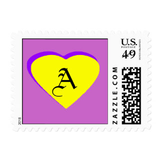 Yellow-Purple Heart Letter A The MUSEUM Zazzle Sm Postage
