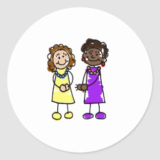 Yellow & Purple Interracial Lesbian Brides Classic Round Sticker