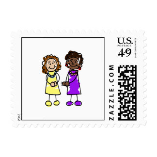 Yellow & Purple Interracial Lesbian Brides Stamp