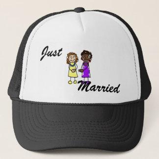 Yellow & Purple Interracial Lesbian Brides Trucker Hat