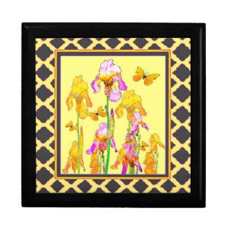 Yellow Purple Iris Butterfly Pattern Gift Box