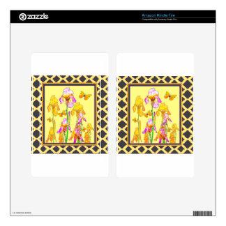 Yellow Purple Iris Butterfly Pattern Skin For Kindle Fire