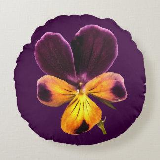 Yellow Purple Johnny Jump Up Flower Round Pillow