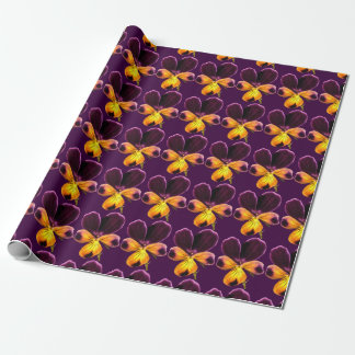 Yellow Purple Johnny Jump Up Flower Wrapping Paper
