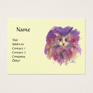 YELLOW PURPLE KITTEN, KITTY CAT PORTRAIT BUSINESS CARD