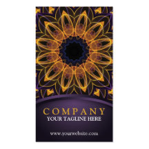 Yellow Purple Lotus Mandala Double-Sided Standard Business Cards (Pack Of 100)