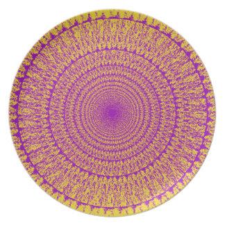 Yellow Purple Mandala on Melamine Plate