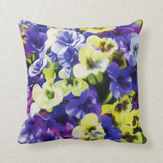 Yellow & Purple Pansies Throw Pillow
