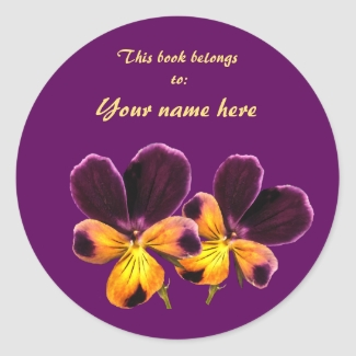 Yellow Purple Pansy Flower Floral Bookplate