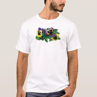 Yellow Purple Pansy Trio Mens T-Shirt