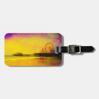 Yellow Purple Santa Monica Pier Luggage Tag