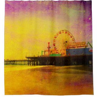 Yellow Purple Santa Monica Pier Shower Curtain