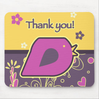 Yellow Purple Thank You Bird Mouse Pad