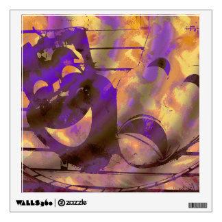 yellow purple Theatre masks Wall Sticker