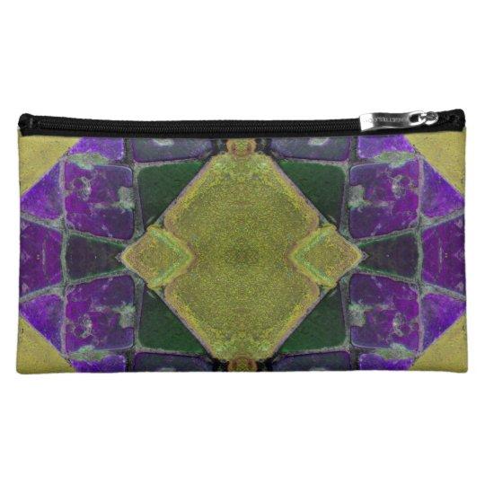 yellow purple tile art makeup bag