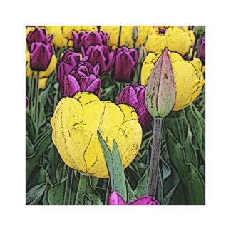 Yellow & Purple Tulips Artwork Wrapped Canvas