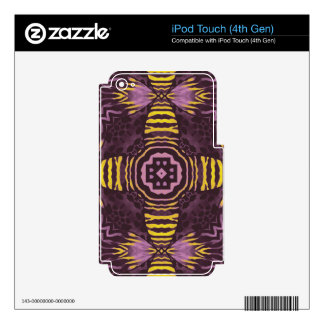 Yellow Purple Zebra Skins For iPod Touch 4G