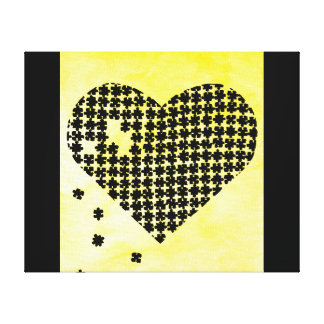 Yellow Puzzle Heart Canvas Print