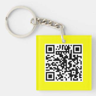 Yellow QR CODE Custom Key Chain