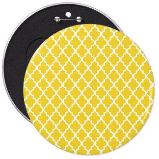 Yellow Quatrefoil 6 Inch Round Button