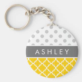 Yellow Quatrefoil and Grey Polka Dot Pattern Basic Round Button Keychain