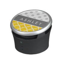 Yellow Quatrefoil and Grey Polka Dot Pattern Bluetooth Speaker