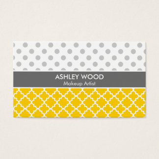 Yellow Quatrefoil and Grey Polka Dot Pattern Business Card