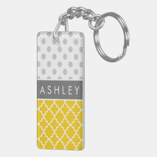 Yellow Quatrefoil and Grey Polka Dot Pattern Double-Sided Rectangular Acrylic Keychain