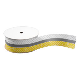 Yellow Quatrefoil and Grey Polka Dot Pattern Grosgrain Ribbon