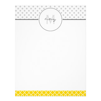 Yellow Quatrefoil and Grey Polka Dot Pattern Letterhead