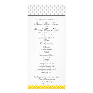 Yellow Quatrefoil and Grey Polka Dot Pattern Rack Card