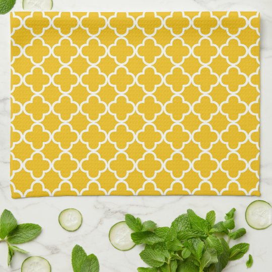 Yellow Quatrefoil Clover Pattern Kitchen Towel