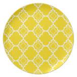 Yellow Quatrefoil Geometric Pattern Dinner Plates