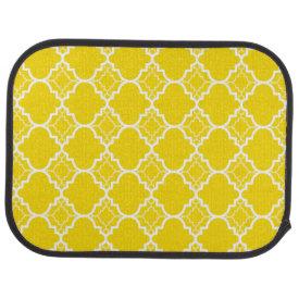 Yellow Quatrefoil Geometric Pattern Floor Mat