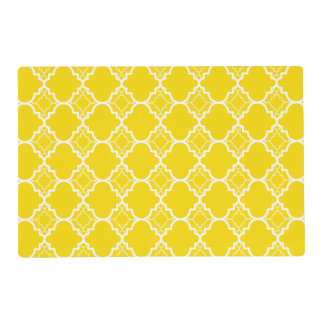 Yellow Quatrefoil Geometric Pattern Laminated Placemat