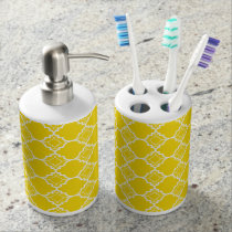 Yellow Quatrefoil Geometric Pattern Soap Dispenser & Toothbrush Holder