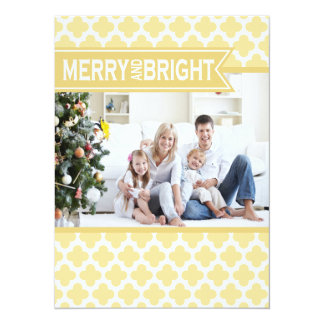 Yellow Quatrefoil Holiday Flat Card