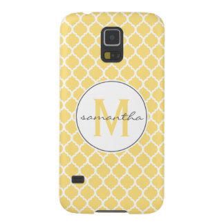 Yellow Quatrefoil Monogram Case For Galaxy S5
