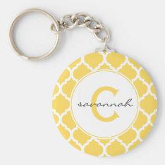 Yellow Quatrefoil Monogram Keychain at Zazzle