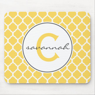 Yellow Quatrefoil Monogram Mouse Pad