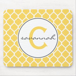 Yellow Quatrefoil Monogram Mouse Pads