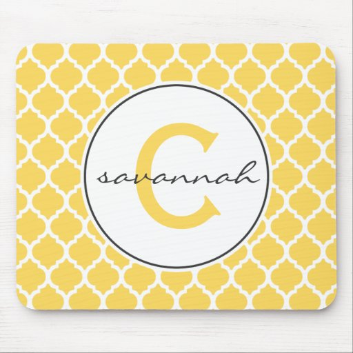 Yellow Quatrefoil Monogram Mouse Pads