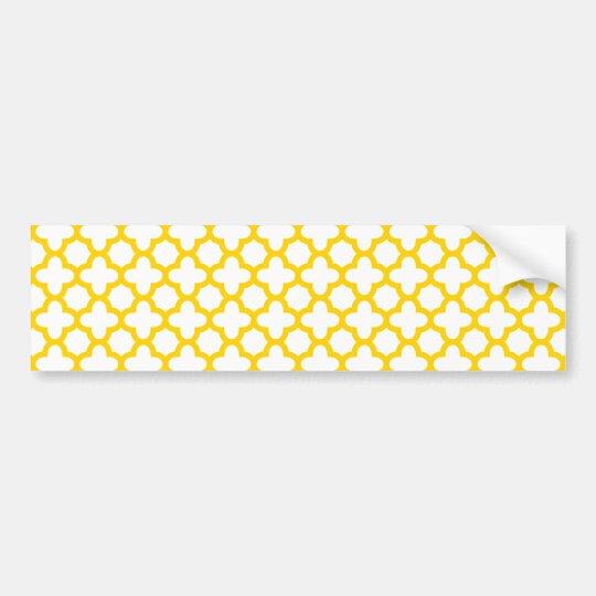 Yellow Quatrefoil Pattern Bumper Sticker