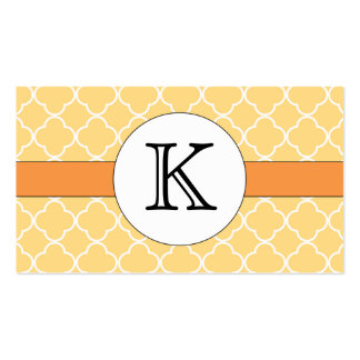 Yellow Quatrefoil Pattern Double-Sided Standard Business Cards (Pack Of 100)