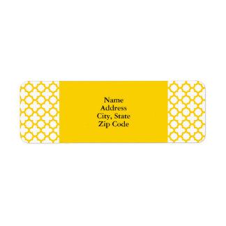 Yellow Quatrefoil Pattern Label