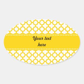 Yellow Quatrefoil Pattern Oval Sticker