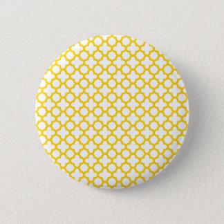 Yellow Quatrefoil Pattern Pinback Button