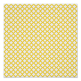 Yellow Quatrefoil Pattern Posters