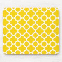 Yellow Quatrefoil Trellis Pattern Mouse Pad